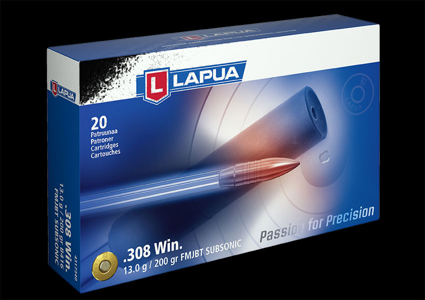 Lapua - Ammunition .308 Win 200gr FMJBT Subsonic-B416- Box of 20