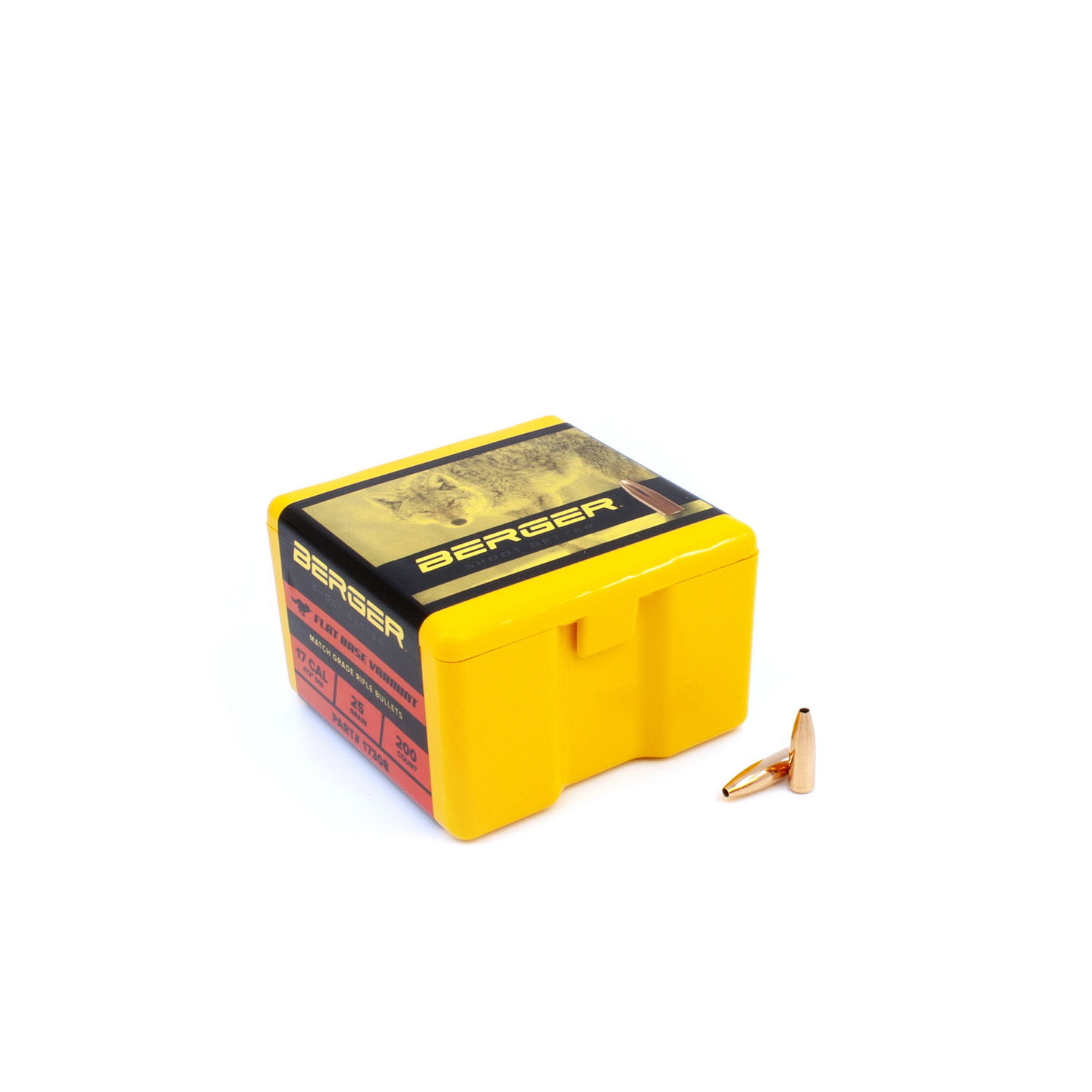 Berger Bullets - .17 cal, 25 gr. Varmint Flat Base - Box of 200
