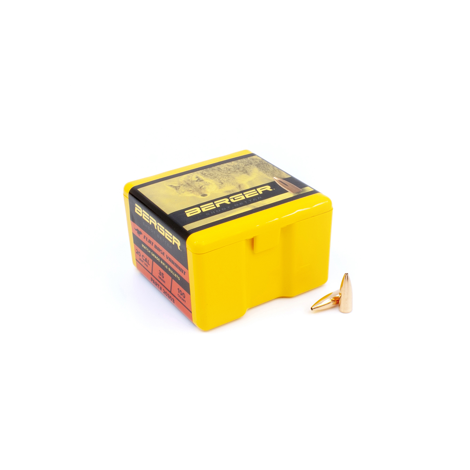 Berger Bullets - .20 cal, 35 gr. Varmint Flat Base - Box of 100