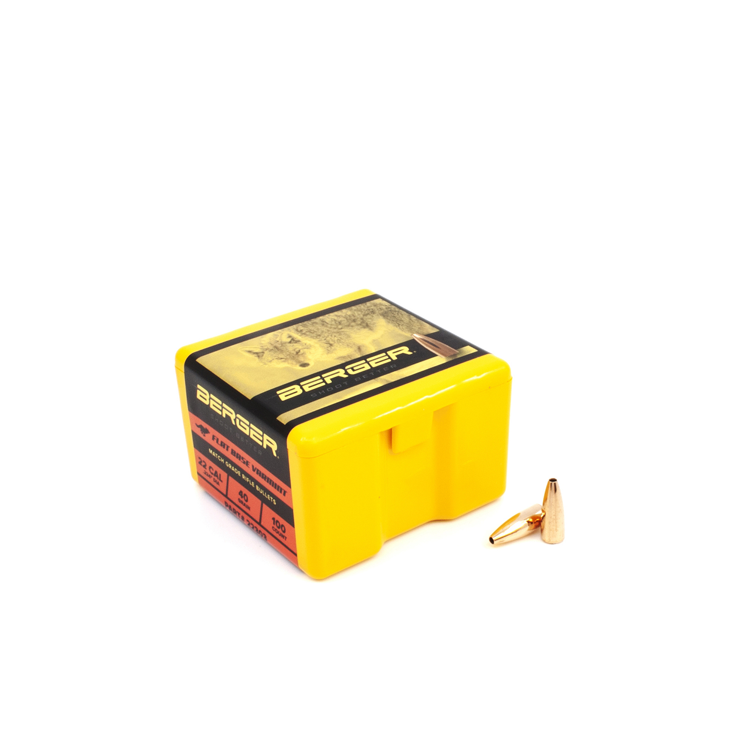 Berger Bullets - .22 cal, 40 gr. Varmint Flat Base - Box of 100