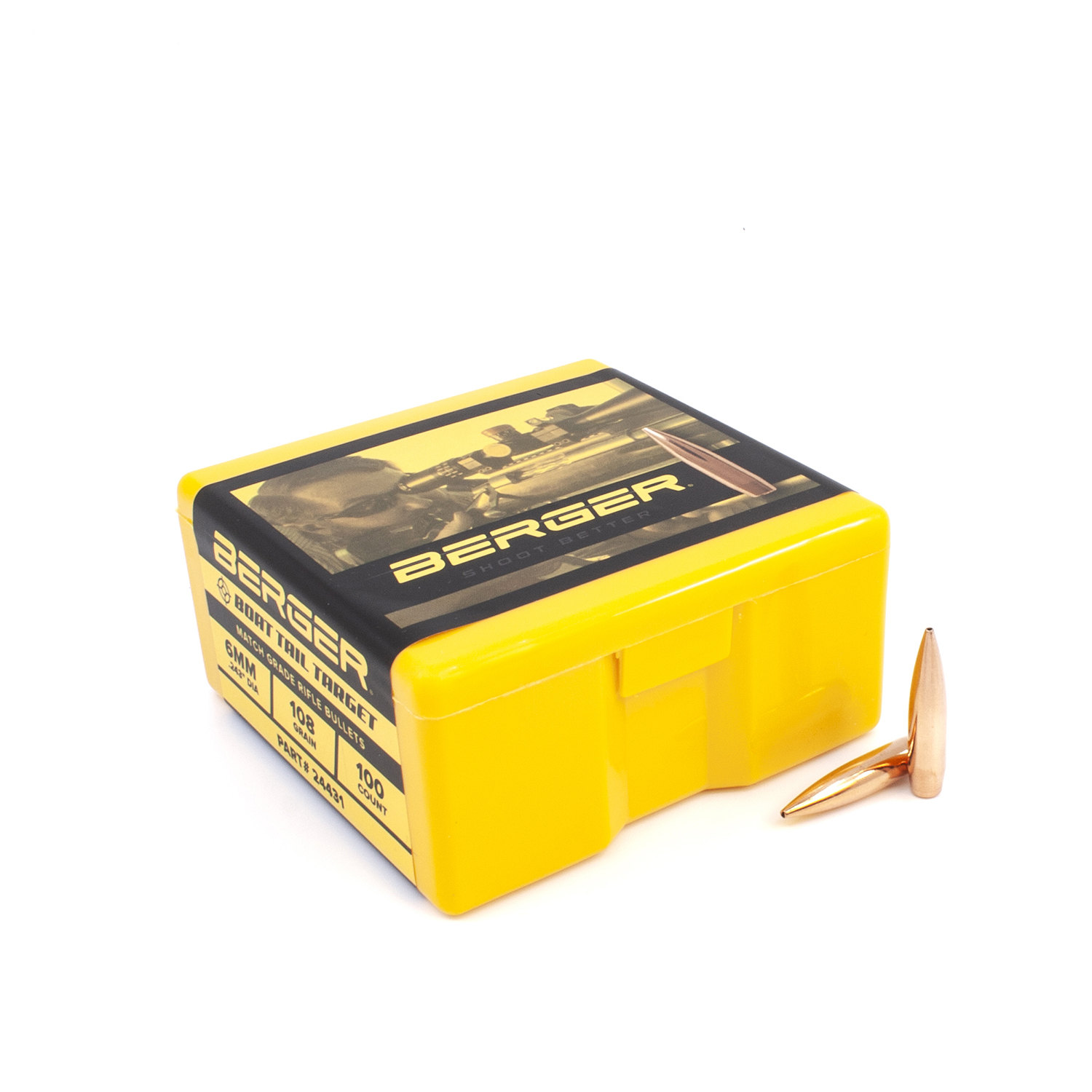 Berger Bullets - 6mm, 108 gr. Target Bot Tail - Box of 100