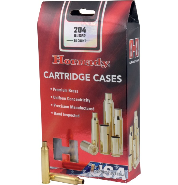 Hornady - Brass - 204 Ruger Reloading Cases - Box of 50