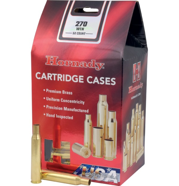 Hornady - Brass - 270 Winchester Reloading Cases - Box of 50